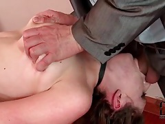 Tied and collared girl face fucked tubes