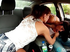 Blown in the car by a couple of sluts tubes