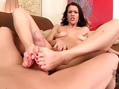 Tight shaved vagina girl gives hot footjob tubes