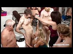 Sluts suck lots of cocks in great group video tubes