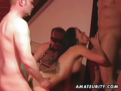 Hot amateur girlfriend with 4 cocks ! Many cumshots... tubes