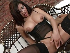 Fingers and toys turn on a hot milf in stockings tubes