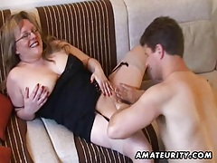 Busty amateur Milf sucks and fucks with cum on tits tubes