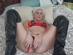 Tight blonde models lingerie and boots tubes