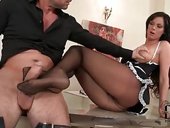French maid in pantyhose gives footjob tubes