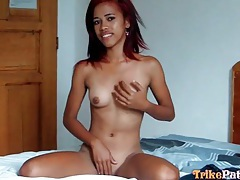 Asian with little boobs bares her body tubes