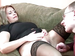 Curvy milf in stockings needs her pussy licked tubes