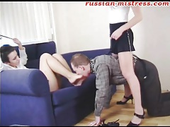 He sucks on sexy toes of his lovely mistress tubes