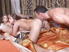 He joins the pussy eaters to bang in threesome tubes