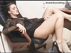 Gorgeous mistress in a skirt needs worship in office tubes