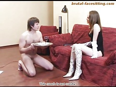 Beauty in white gloves and boots smothers him tubes
