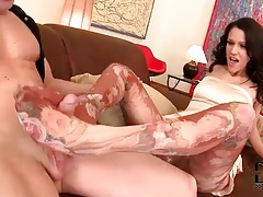 Footjob from beauty in dress and pantyhose tubes