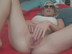 Perky boobs amateur masturbates shaved vagina tubes