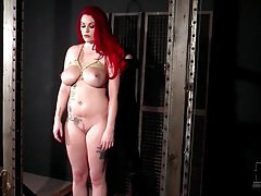 Redhead tied up and looking sexy tubes