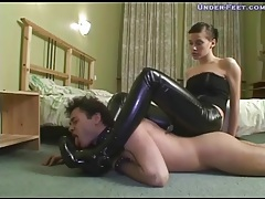 Girl in tight leather pants dominates him tubes