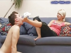 Big boobs blonde makes him submit to foot play tubes