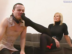 He is made to crossdress and take her abuse tubes