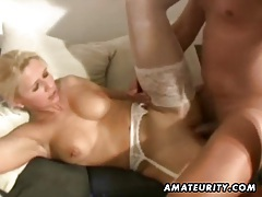 Amateur homemade threesome with nasty Milfs tubes