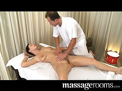 Massage Rooms Mature woman has her hairy pussy massaged tubes
