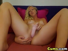 Blonde Strokes a Massive Dildo Inside her Pussy HD tubes