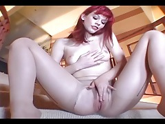 Petite babe masturbating in crotchless hosiery tubes