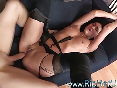 Torn up pantyhose girl fucked in the ass tubes
