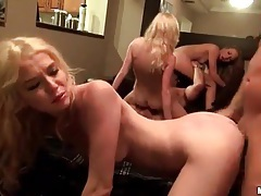 Dudes celebrate fucking hotties in orgy party tubes