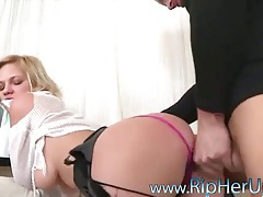 In ripped hose this slut takes it in the ass tubes