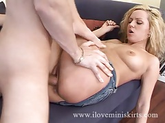 Denim skirt looks cute on fucked blonde girl tubes