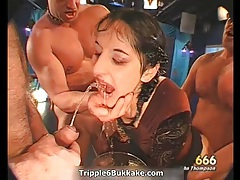 Dirty slut gets her face and body pissed hard tubes