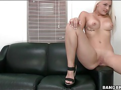 Bleach blonde strips in the casting couch room tubes