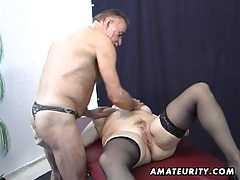 Old amateur couple home action with cum on tits tubes