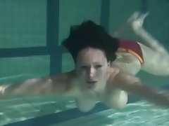 Bikini stripped from girl in the pool tubes