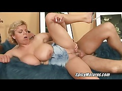 Curvy girl takes a seat on his dick tubes