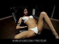 Hot latina Veronica Rodriguez fingers her pussy tubes