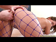 Babe in blue fishnets does doggystyle sex tubes