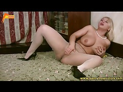 Big boobs blonde in fishnets and heels tubes