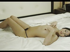 Smooth shaved girl strips from sexy lingerie tubes