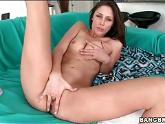 Pretty brunette with lean body chokes on a cock tubes