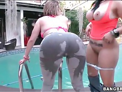 Outdoors we are teased with two hot asses tubes