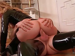 Anal cock riding with hottie in latex tubes