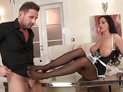 French maid gives her man a footjob tubes