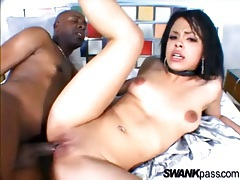 Black cocksucker plowed in her pussy by BBC tubes