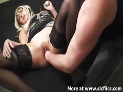 Fisting my slut girlfriends pussy till she squirts tubes