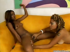 Black girls get naked fast and play with wet pussy tube