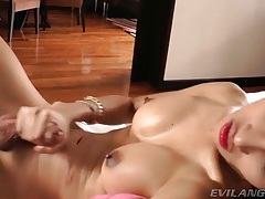 In bow top stockings the Asian tgirl jerks off tubes