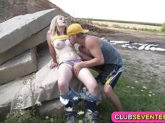 Busty pale teenie fucked in both holes tubes