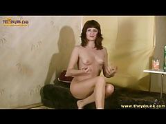 Small tits gal with hairy box masturbates and pukes tubes