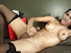 Asian tranny strokes dick to a thick cumshot tubes