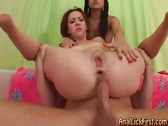 Redhead butt fucked as brunette friend watches tubes